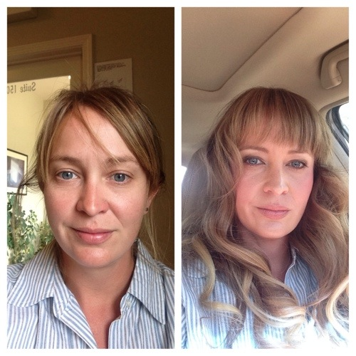 Before and after hair and make-up.